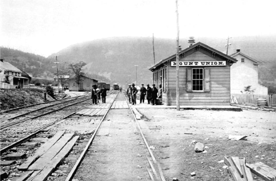 Pennsylvania Railroad Depot along Pennsylvania Avenue in the town of Mt. Union Huntingdon County in the early 1900s