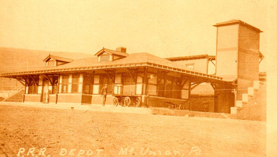 Pennsylvania Railroad Depot in the town of Mt. Union Huntingdon County in the early 1900s