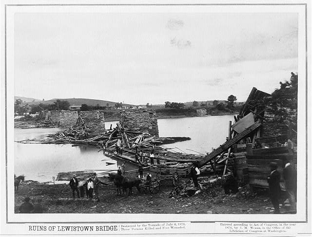 Juniata River Bridge Ruins 1874