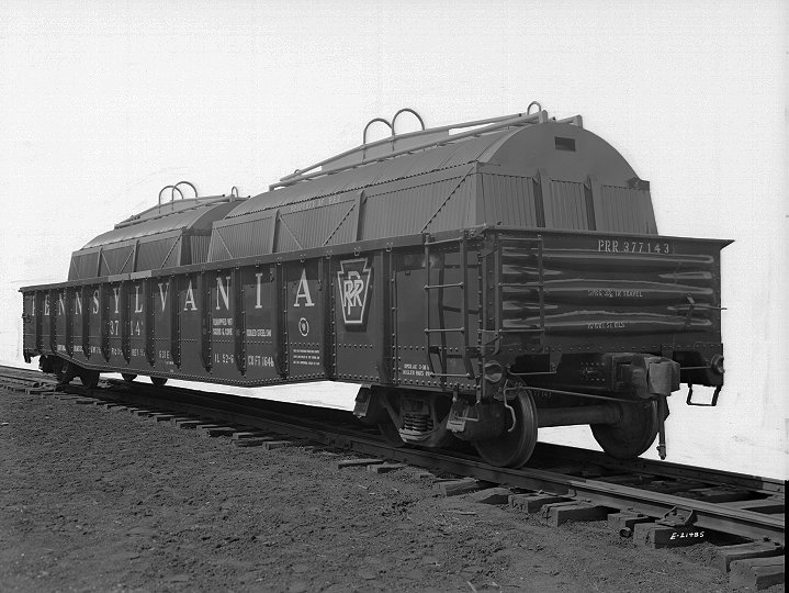 G31e gondola car 377143 with skids and covers for coil steel