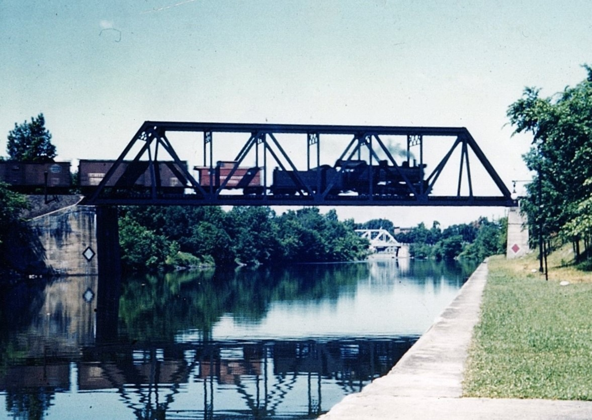 PRR Local Freight Crossing Barge Canal Bridge in Newark NY in the Early 1950s. Photograph by Dr. Frank Lucas