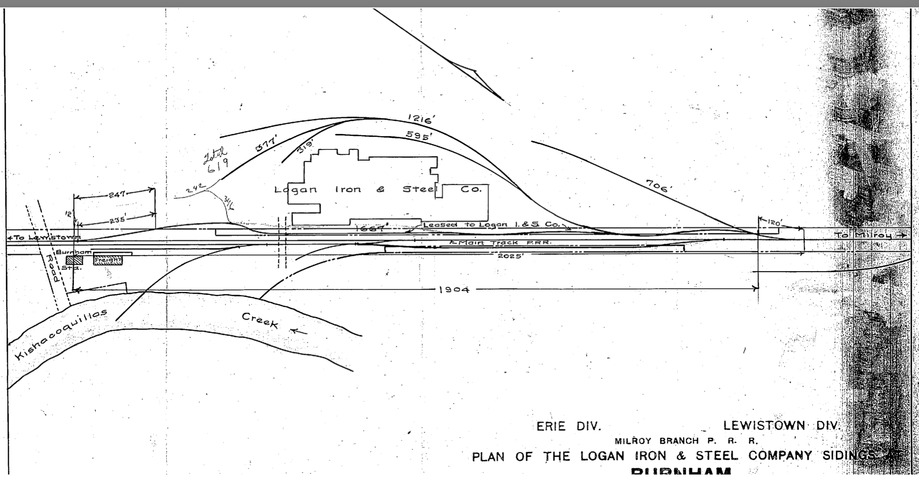 Post 1905 Track Diagram of Logan Iron Steel