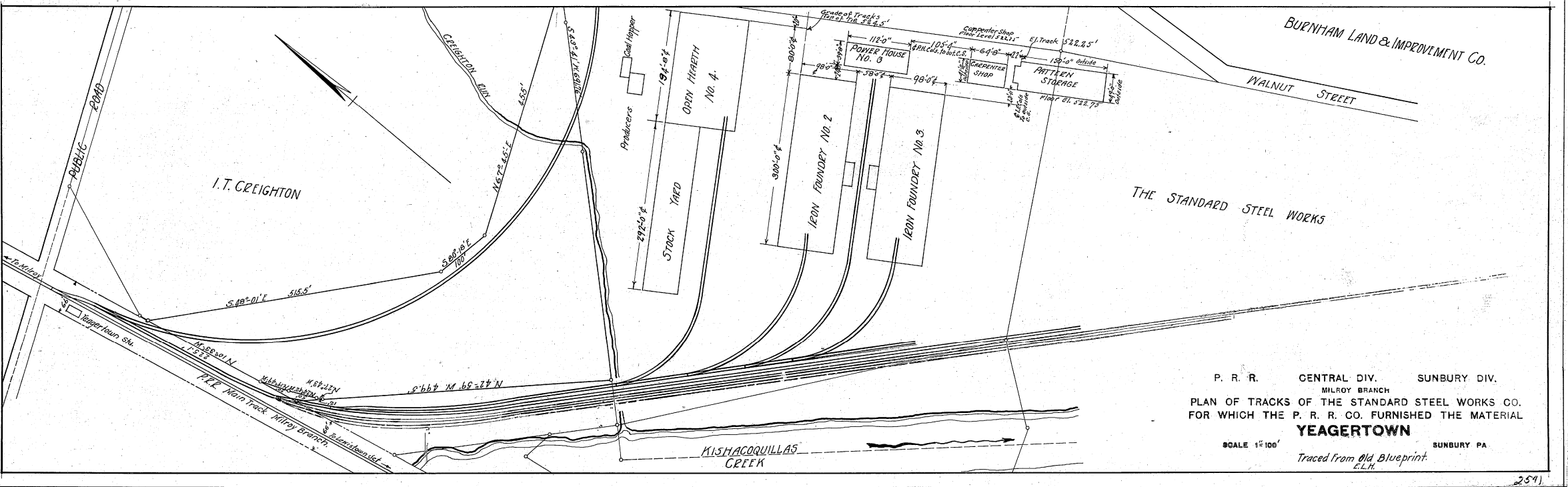 undated 1902 Track Diagram of Standard Steel